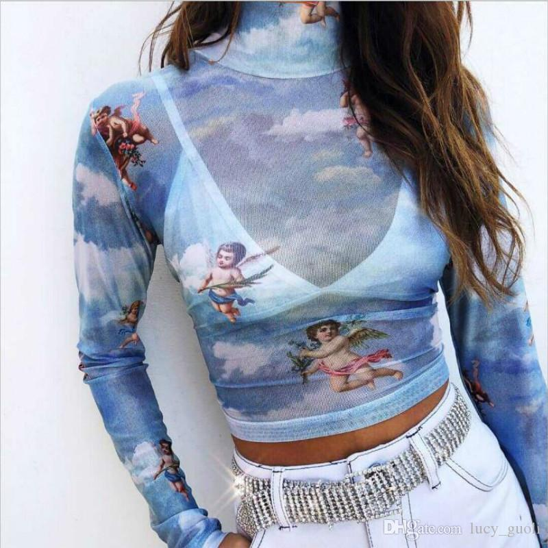 Hot Mesh Cupid Angel Turtleneck T Shirts Tops Tee Women Transparent 2019 Long Sleeves See Through Blue Elastic Skinny Crop Tops Stretchy New