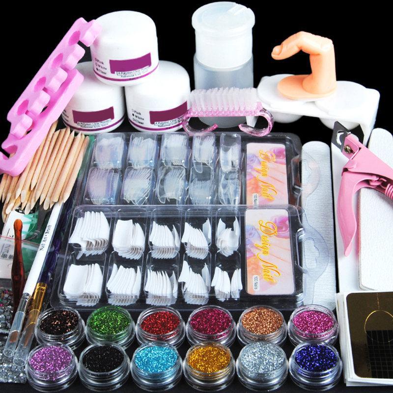 Akrilik Nail Art Kiti Manikür Seti 12 Renkler Tırnak Glitter Toz Dekorasyon Akrilik Kalem Fırça Sanat Aracı Kiti Yeni Başlayanlar için