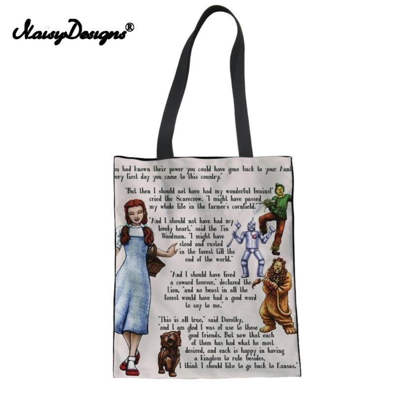 OZ TOTE BAG Kadınlar Tuval Alışveriş Çantası Kız Lady Plaj Seyahat Paketi kese Noisydesings The Wizard Portatif Katlanır Dropship