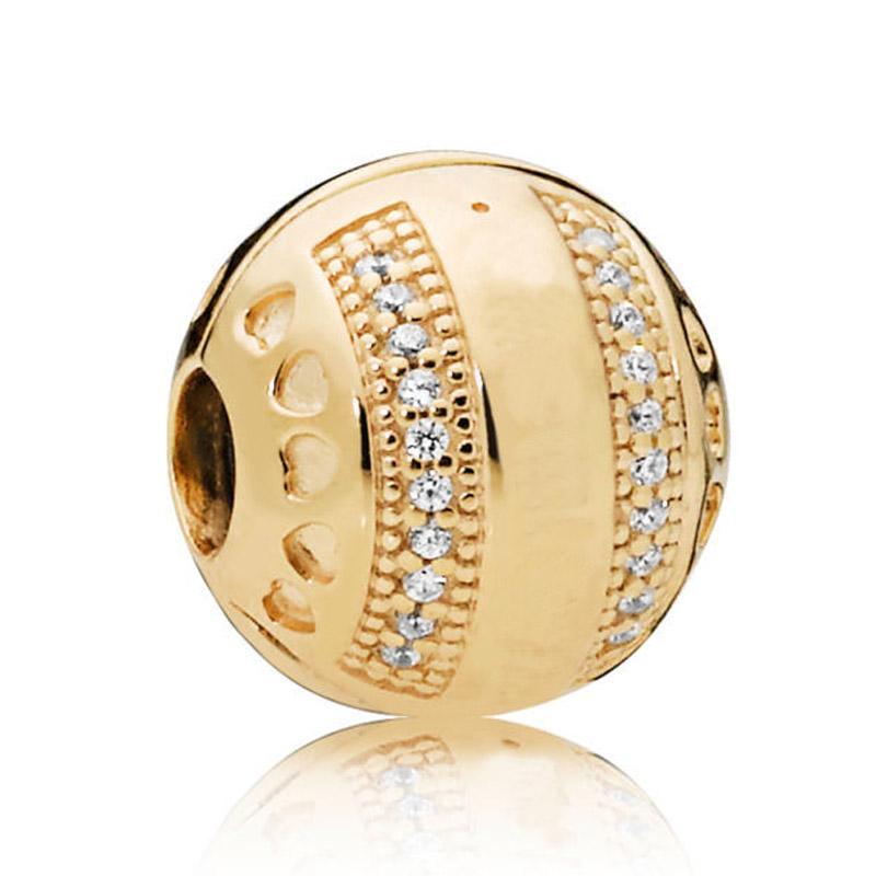 Novo 925 Sterling Silver Bead Charme Cor de Ouro Brilhar Listras Logotipo Corações Clipe Bloqueio Rolha Beads Fit Pandora Pulseira Diy Jóias