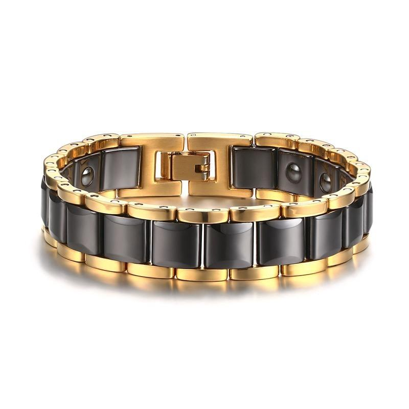 Fashion Mens Magnetic Bracelets Therapy Stainless Steel Ceramic Inlay Energy Ion Bracelet Luxurious Wristband Gents Jewelry Gift C19021601