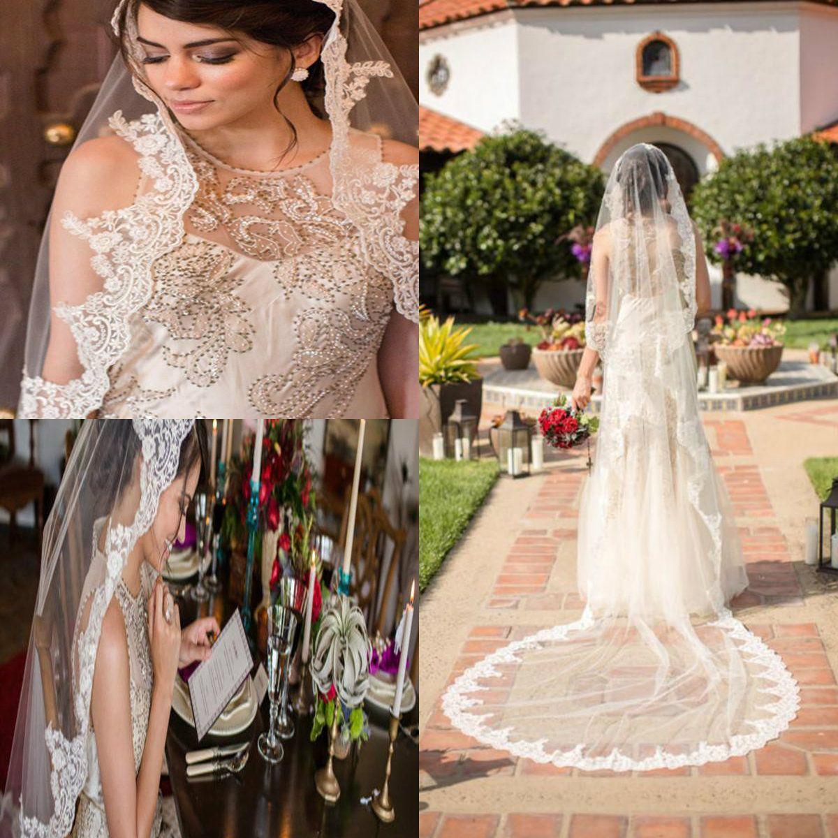 2019 Stunning Bridal Veils Custom Made Charming Bianco Avorio Champagne Pizzo 2 strati Velo da sposa con pettine applique per abito da sposa