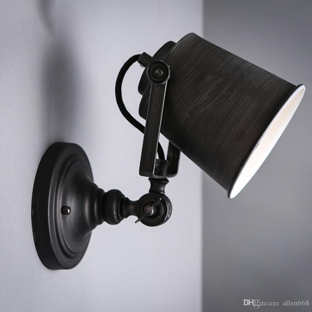 Loft yaratıcı kişilik Amerikan tarzı Retro Vintage Hat Art Deco Duvar lambası endüstriyel demir kapalı çatı açısını aplikler lambalar