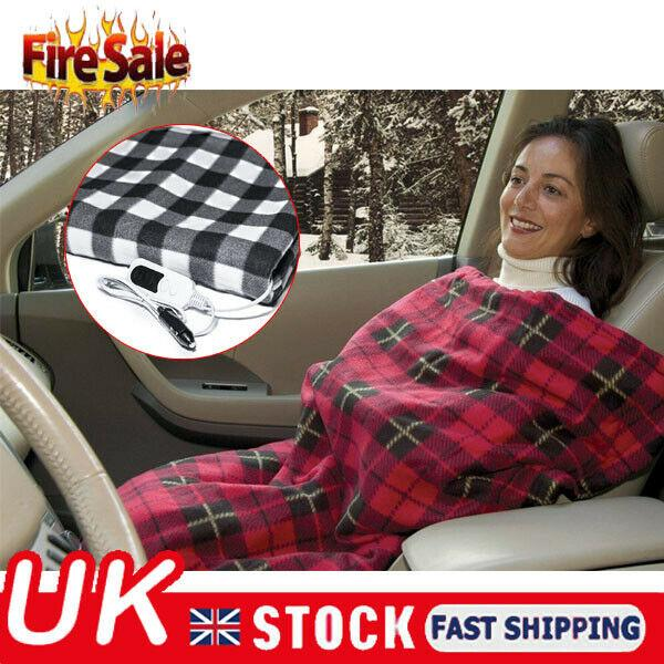 NEW Electric Blanket for Car Heated 12 Volt Plug-in Fleece Travel Throw BLUE