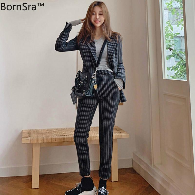 BornSra Vintage Striped Women Pant Suit Jacket & High Waist Pencil Pant Female Blazer Set Office Wear Women Suits
