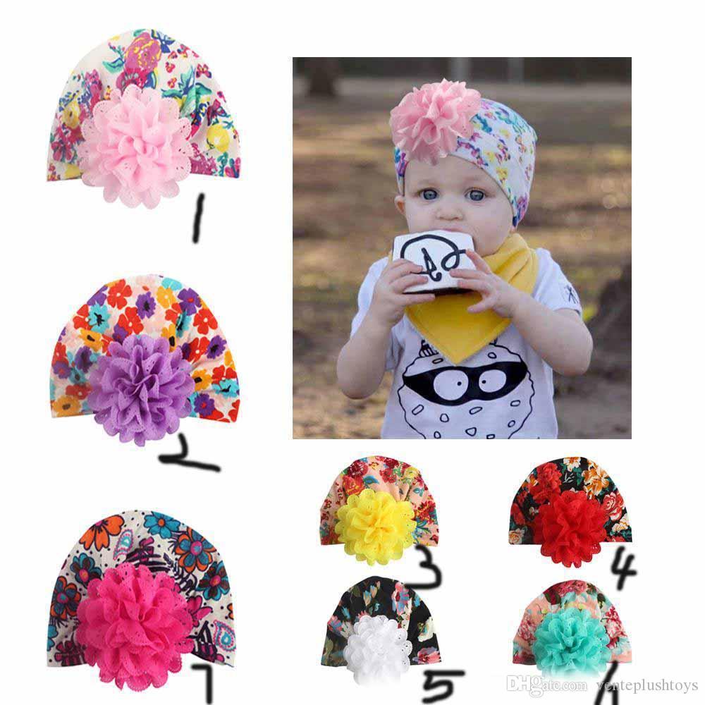 Kinder Designer Hüte Säugling Chiffon- Blumenblumen gedruckte Baumwollkappen Kopfbedeckung Bandanas-Baby Haar-Accessoires Kinder Turban Mütze