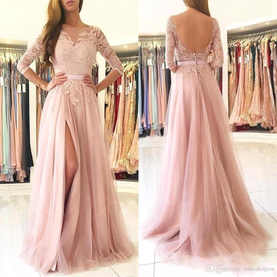 2020 Elegante Blush Pink lungo bussola nelle A-line Prom Dresses economici Appliqued merletto Evneing abito Plus Size partito convenzionale vestiti da damigella BM0849