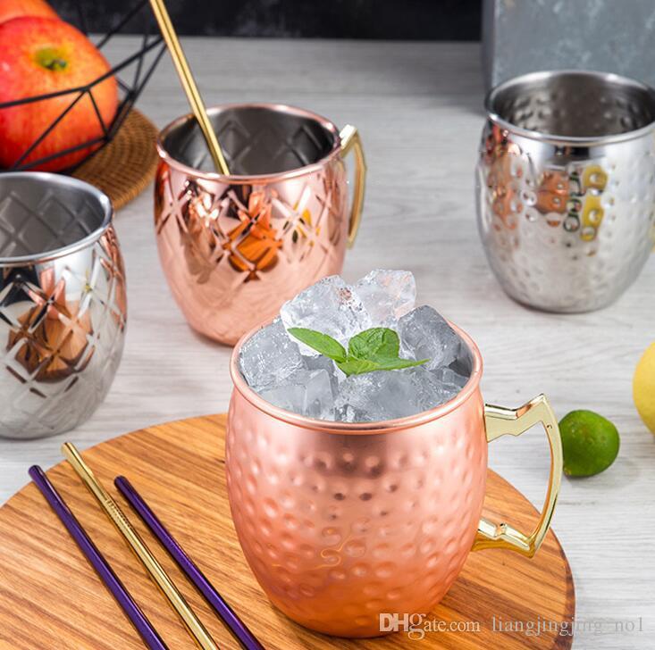 Rame boccale in acciaio inox Beer Cup Moscow Mule Tazza oro rosa martellato rame placcato Bicchieri KKA1808