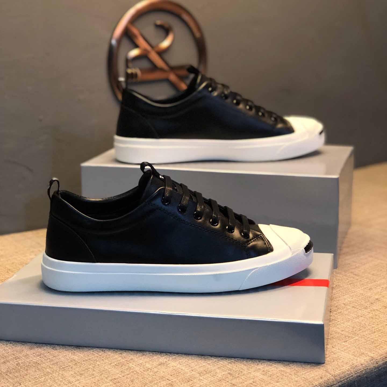 2019 de alta calidad zapatos de diseñador para hombre zapatos para hombre de la correa de cuero negro con la cara sonriente Plate-forme pie del zapato # 1F ejecutan