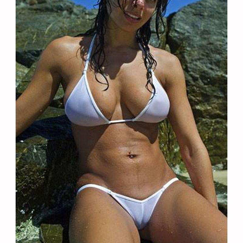 Veja até 2018 brasileiro Sheer Biquinis Sexo Swim Lingeries Swimwear traje maiô feminino de malha Micro Mulheres Set Bikini