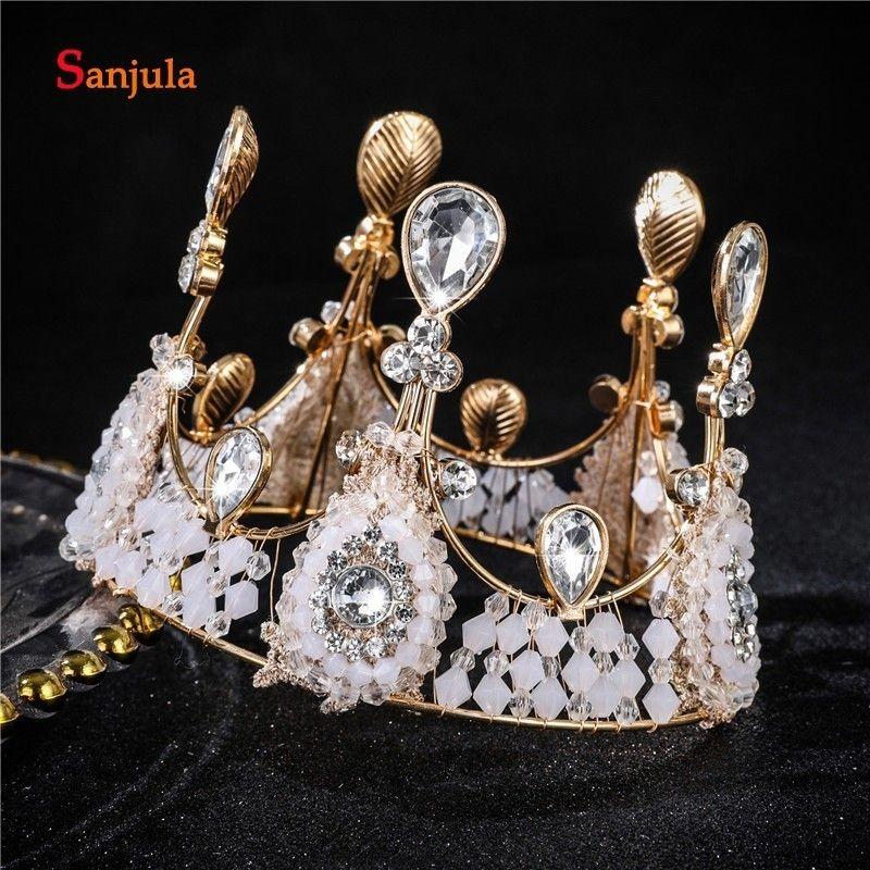 Корона торт украшение маленькие девочки День Рождения украшения для волос золотые диадемы сладкий Принцесса головной убор цветок девушки свадебный головной убор FA09