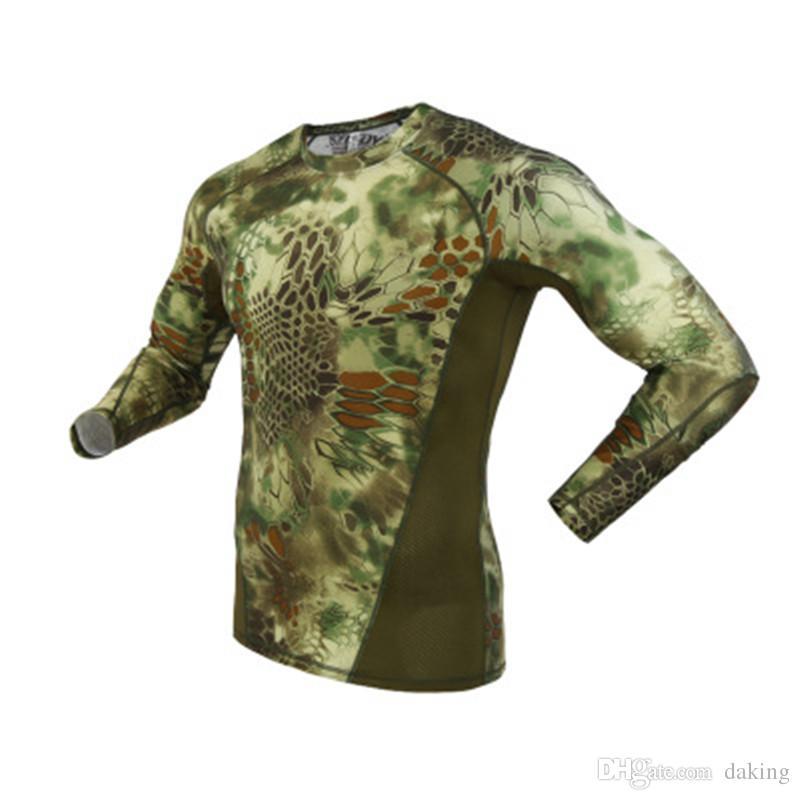 Мужчины Python камуфляж Печать футболки весна осень новый тренд Army Green Спорт длинные рукава тройники Открытый кемпинга Тактический военный Камо