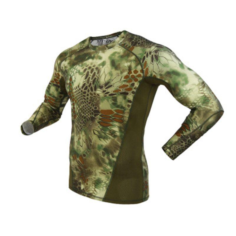 Homens Python Camuflagem Imprimir T-shirt Primavera Outono nova tendência verdes Sports Exército longo da luva Outdoor Camping tático militar Camo