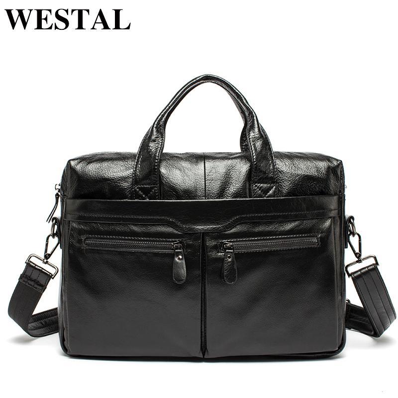 Кожаный портфель для ноутбука Westal 14 Деловые мужские сумки для документов Сумки для документов и офисов для мужчин Сумка для компьютера Мужская сумка Y19051802