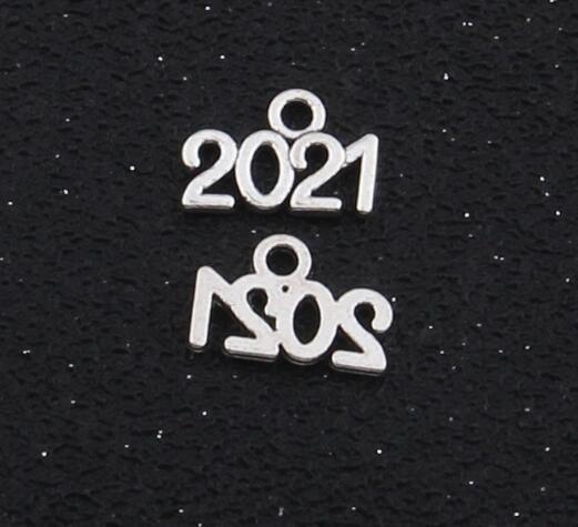 50pcs / lot Yıl 2021 2022 2020 Gümüş tonlu Charms Kolye DIY Malzemeleri Takı Yapımı 9x14mm