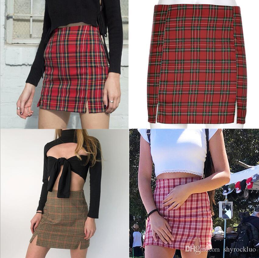 College style Womens Casual Vintage Skirt Plaid Slim High Waist Zipper Package Hip 2020 Fashion Ladies Plaid Mini Pencil Skirts Outfit Mujer