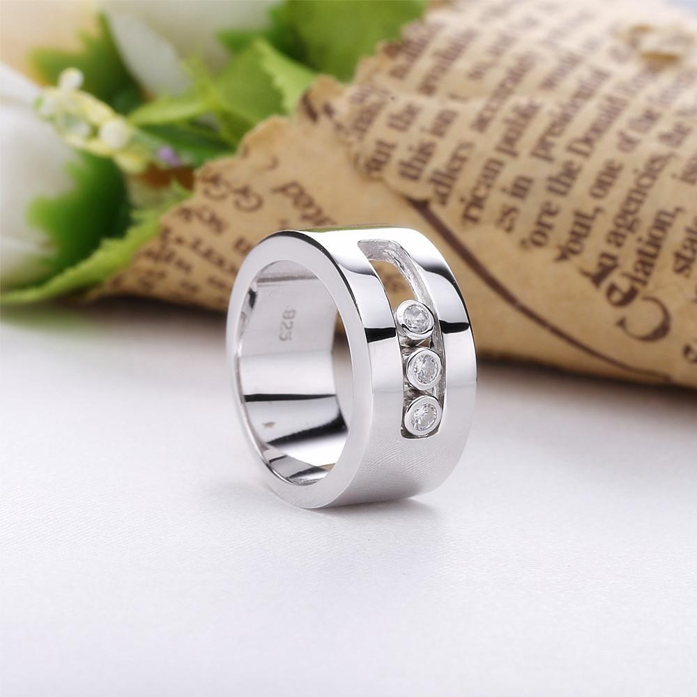 Slovecabin France Populaire Bijoux argent 925 Moved anneau de mariage pour les femmes d'argent 925 bague en cristal fin Jewelry01