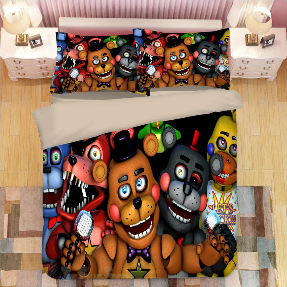 Five Nights at Freddy's Cartoon 3D Bedding Set Duvet Covers Pillowcases Toy Bear Comforter Bedding Sets Bedclothes Bed Linen CY200519