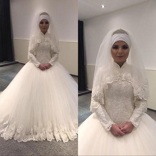 2020 Muslim robe de bal robes de mariée à col en dentelle Applique avec Wrap perles étage Longueur Robes de mariée Taille Plus Robe de novia