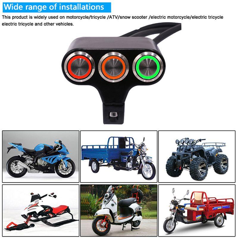 Interrupteur de guidon de moto 7//8 pouces Interrupteurs de guidon de moto universels pour guidons 7//8 pouces