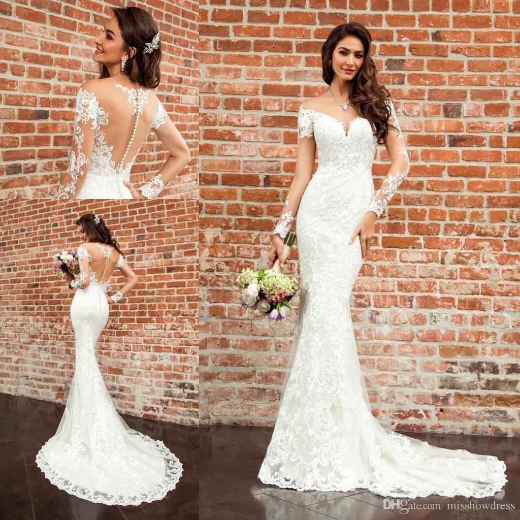 Сексуальные элегантные белые кружева русалка свадебные платья прозрачные с длинными рукавами кружева аппликация тюль свадебные платья с пуговицами VesiDos de Soiree