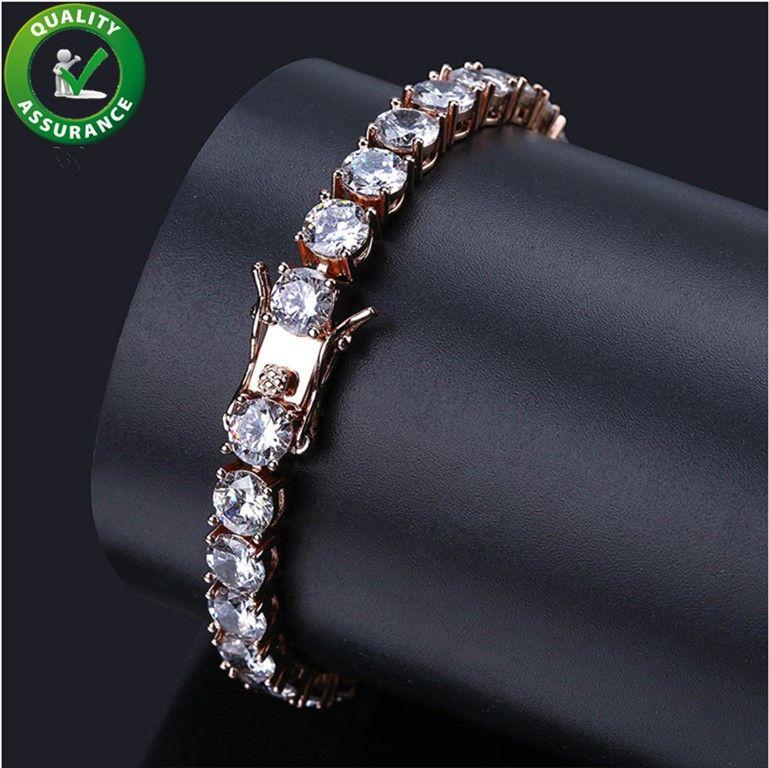 Mens Diamond Tennis Bracelet Iced Out Catene Micro Pave CZ Hip Hop Gioielli Designer di lusso Bangle Finish 1 fila Bracciali oro Link Rock