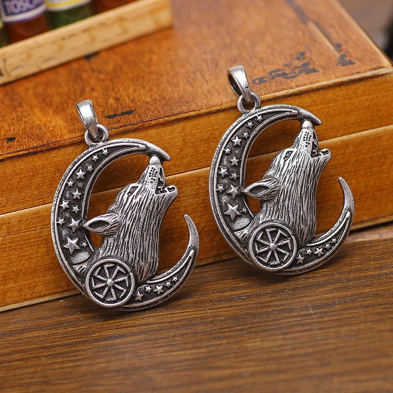 BC0016 северный мифический викинг кулон северный викинг ожерелье религиозный винтаж кулон ожерелье луна голова волка знак ожерелье