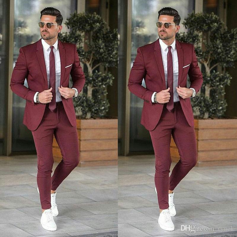 Burgundy Men Tuxedos for Wedding Groom Suits Man Blazer 2Piece(Coat+Pants) Slim Fit Costume Homme Tow Buttons Prom Party Terno Masculino