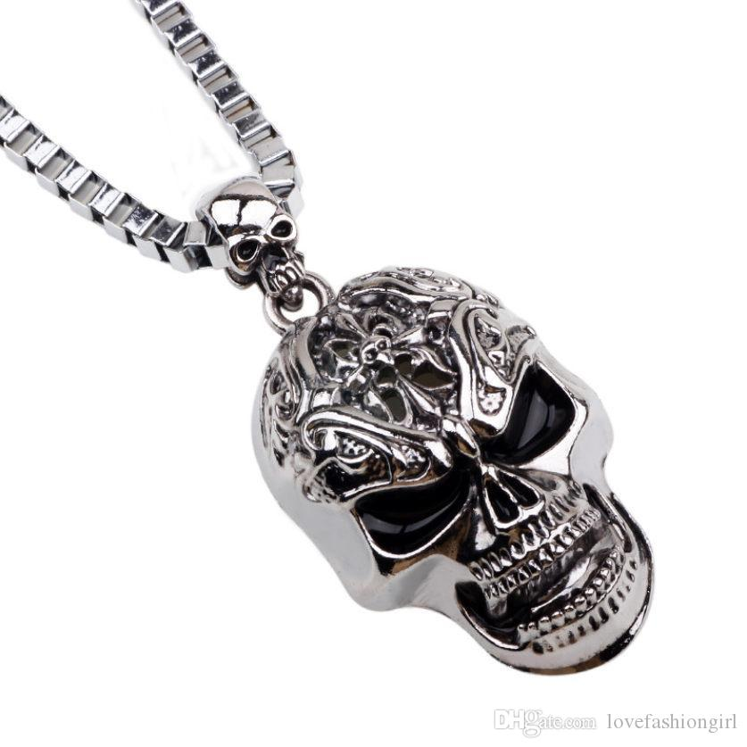 Pendant Necklaces For Men 2019 Brand New Fashion Punk Rock Silver Plated Alloy Skull Hip Hop Necklace Jewelry Wholesale LN028