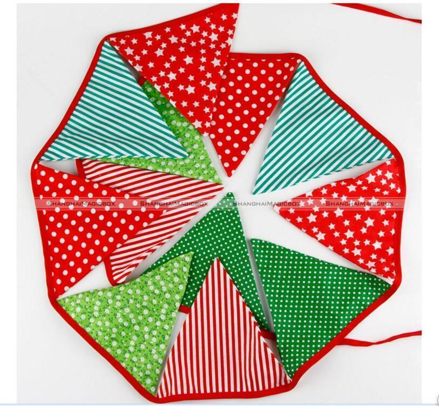 Wholesale- 12 Flaggen-3.3M-Baumwollgewebe-Fahnen Bunting Party Boy Geburtstag Garten Garland Weihnachten Freies Verschiffen SMB 43916413