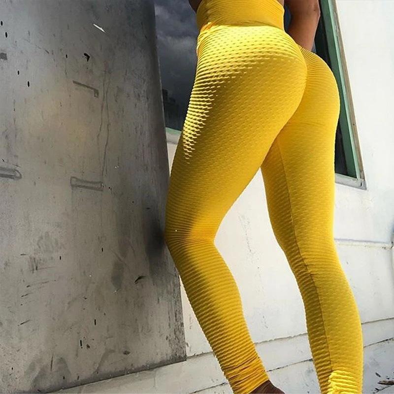 Женщина Activewear Legginsy тренировки Фитнес Леггинсы Femme высокой талией BuLifting Push Up легинсы Mujer Желтый Фиолетовый Черный Красный
