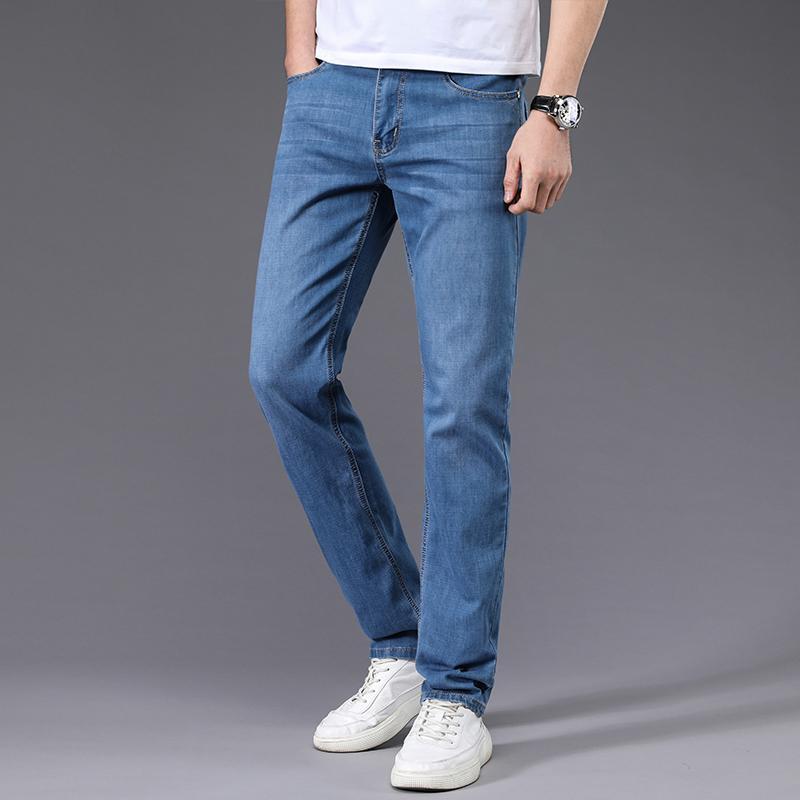 Jeans Männer gerade Hose männlich Qualitäts-weicher Slim Fit Business-Denim der beiläufigen Biker Pants Pantalon Hombre Homme