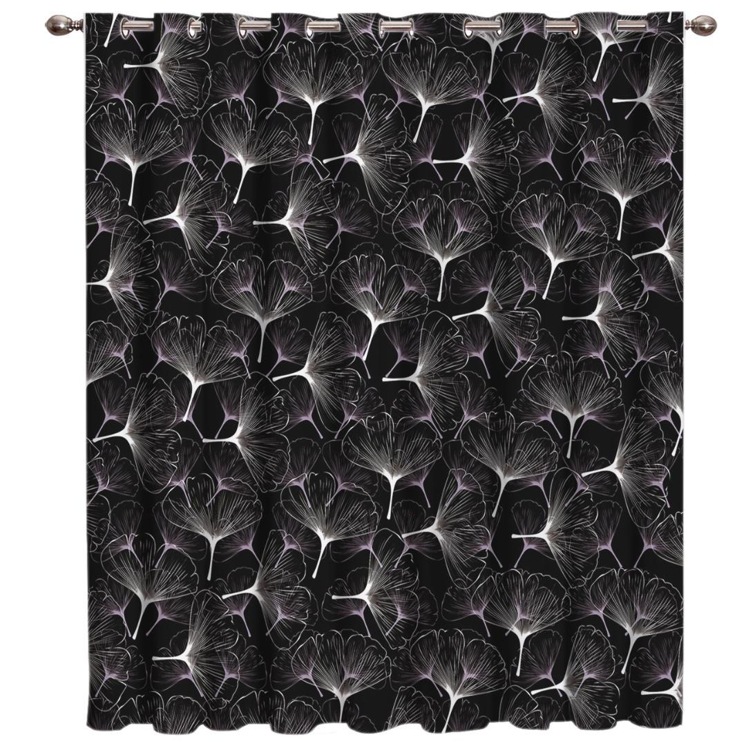 Abstract Ginkgo Leaf Plant Room Curtains Large Window Living Room Bathroom Blackout Fabric Decor Window Treatment Hardware Sets
