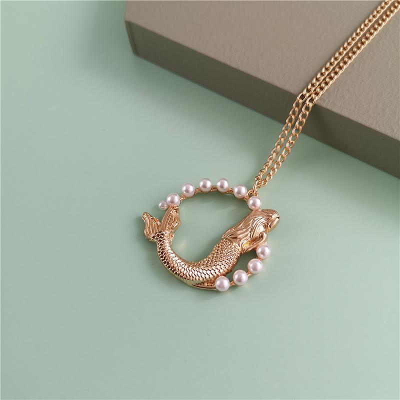 Jujia Урожай Элегантный Gold Fish Pearl кулон ожерелья для женщин девушки Лаки ожерелье Bohemia Свадебные украшения