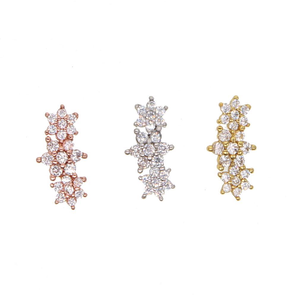 925 di 100% sterlling fiore d'argento cz tre fiore sveglio dell'orecchino della vite prigioniera per l'orecchio topper earbone simpatici borchie d'argento minimi belle