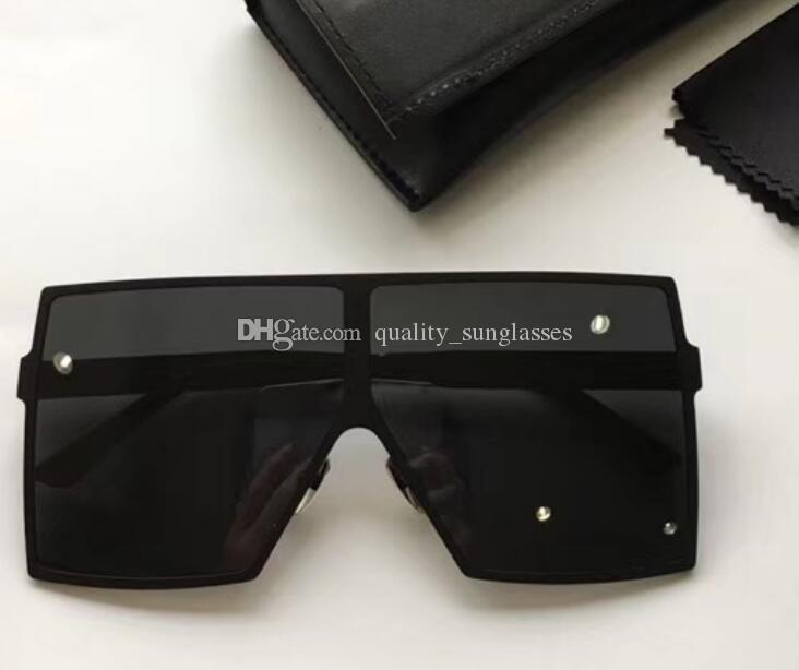 2019 Windproof sunglasses 182 BETTY BLACK FRAME GRAY/SILVER-MIRROR LENSES WITH BOX 68mm 140mm