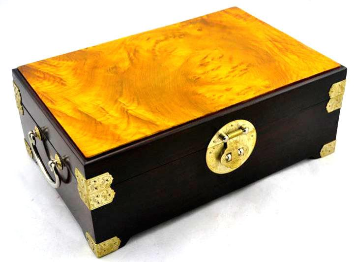 Free Shipping Madacascan Ebony solid wood beauty rosewood jewerly box with gold camphorwood top cosmetic wooden case decoration C19010501