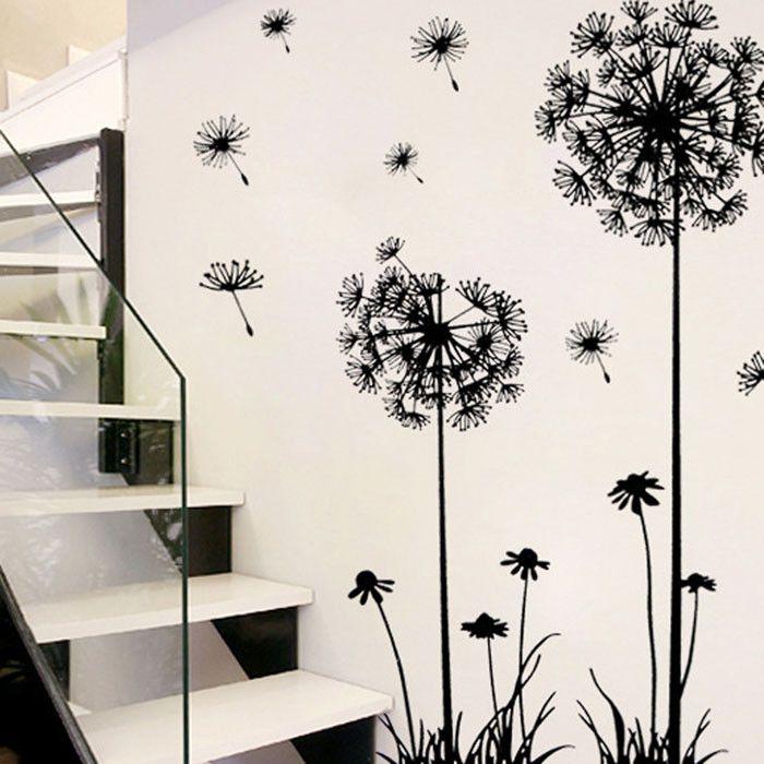 جدار ملصق تحفيزي الحديثة الاطفال الأسود الإبداعية PVC زهرة الهندباء شجرة مصنع كبير للإزالة الرئيسية جدار مائي 19jul15