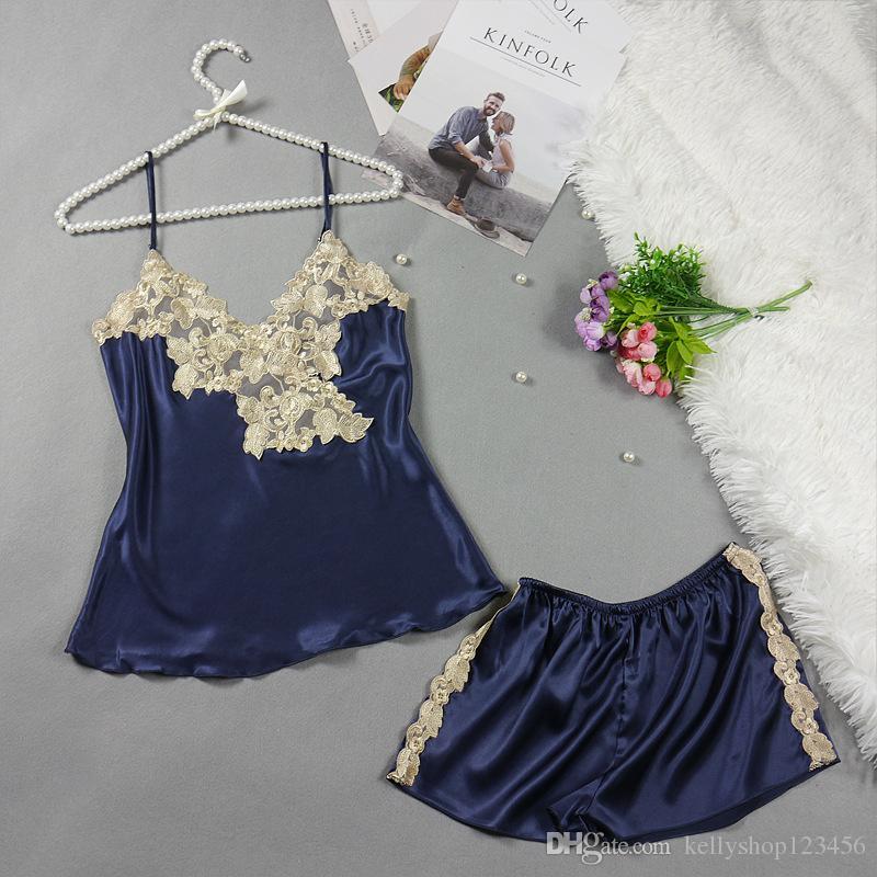 Fashion Pajama Set Sexy Sling Tops +Short Pants Outfits Lace Suit Silk Thin Women Night Wear Satin