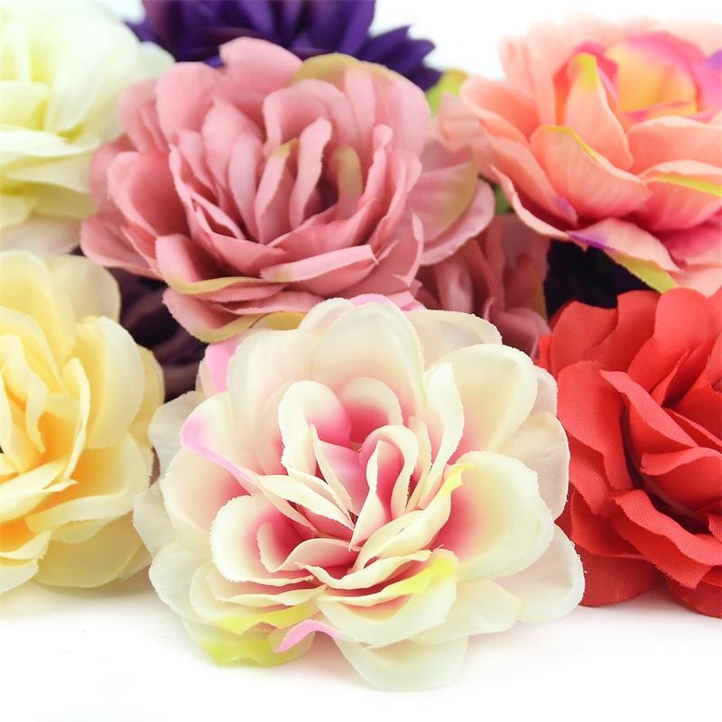 10pcs 7cm 로즈 인공 실크 장미 꽃 벽 머리 홈 웨딩 장식에 대 한 DIY 화 환 액세서리 공예 가짜 꽃