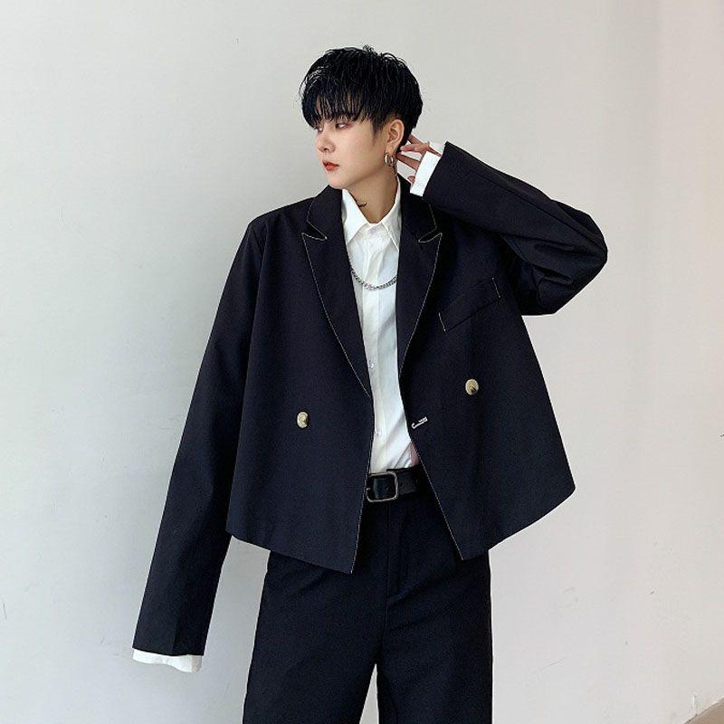 Homens soltos Casual Curto Estilo paletó masculino Moda Vintage Hip Hop Japão Streetwear Gothic Blazer Suit Brasão Casacos