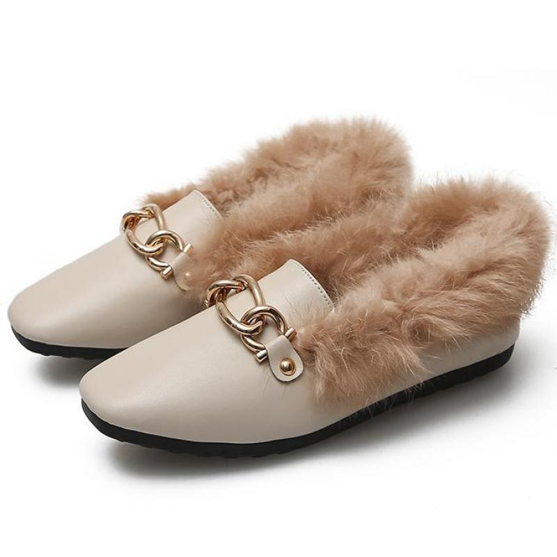 34~43 Large Size Womens Fur Loafer Moccasins Plush Flats Metal Chain Warm Shoes Winter Plus Fur Woman Square Toe Slip On Loafers