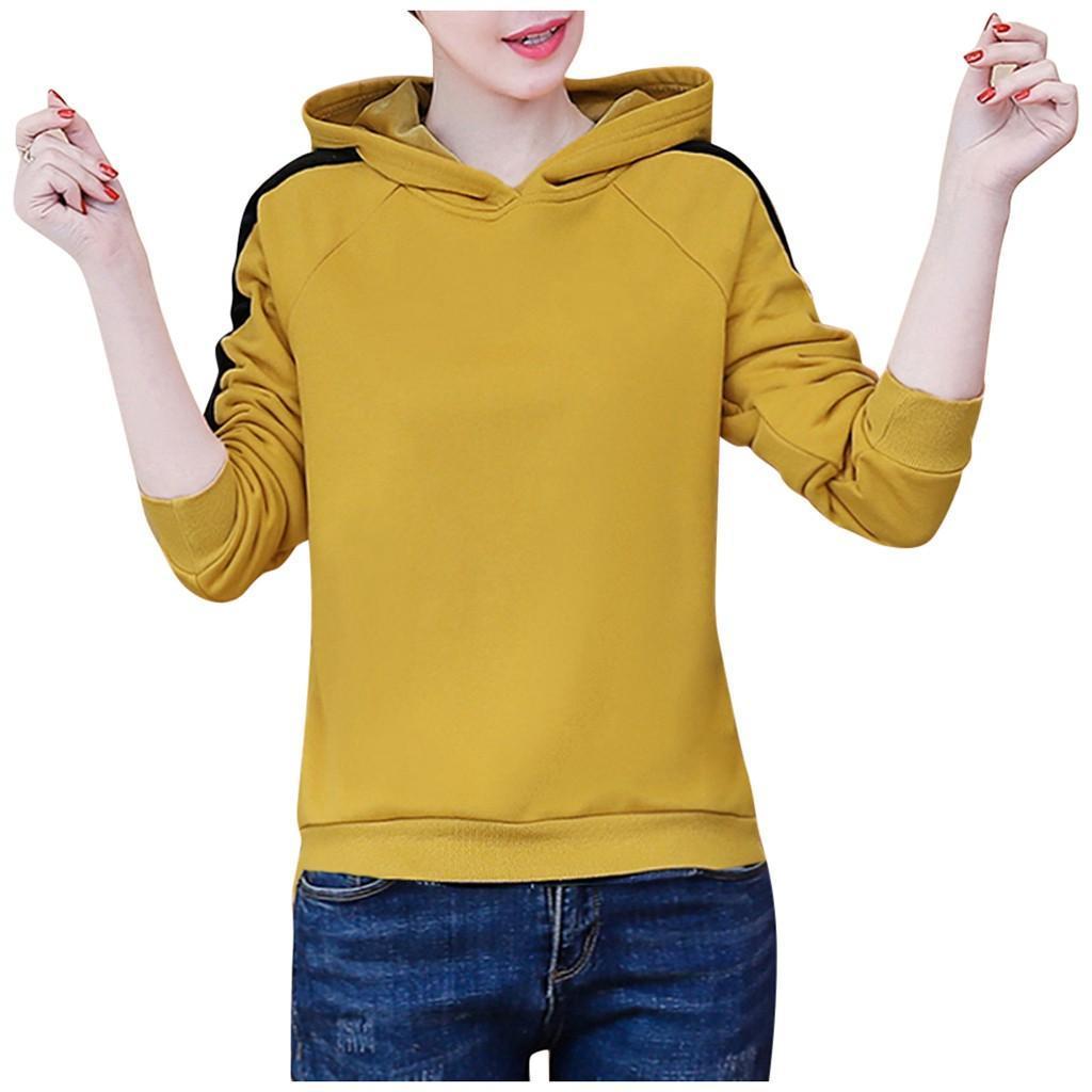 Artı boyutu Tişörtü Lady Moda Kapüşonlular Kadınlar Saf Renk Hoodie En Kazak Uzun Kollu Bluz Streetwear