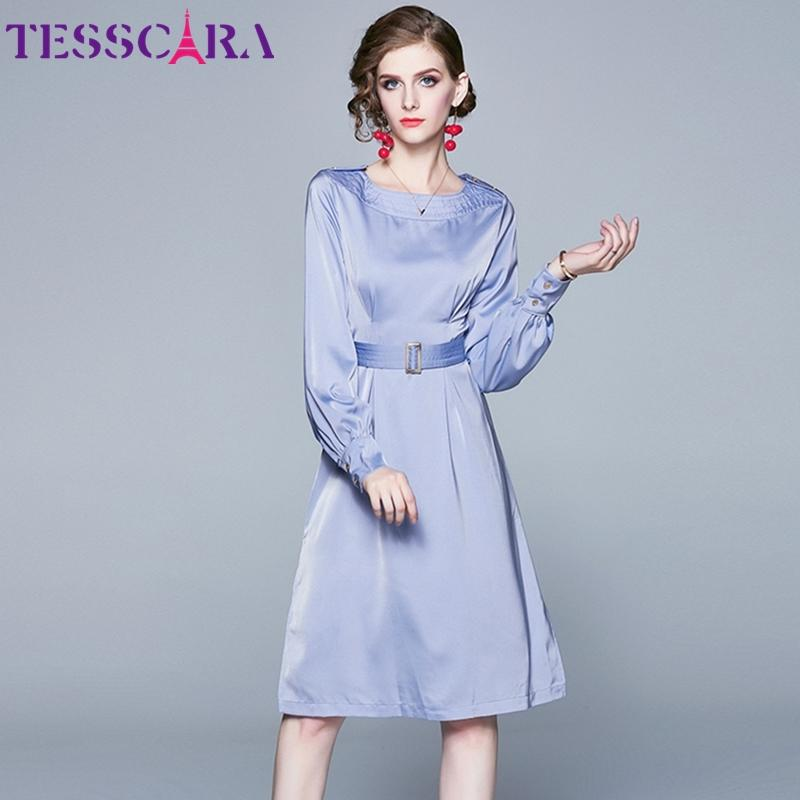 TESSCARA Women Spring & Autumn Elegant Office Dress Female Designer Cocktail Party Robe High Quality Casual Vestidos