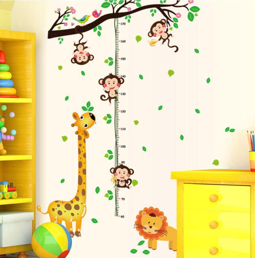 Cartoon Christmas TOISES Stickers Muraux pour les enfants Chambre girafe Singe Toise Règle Stickers Nursery Home Décor