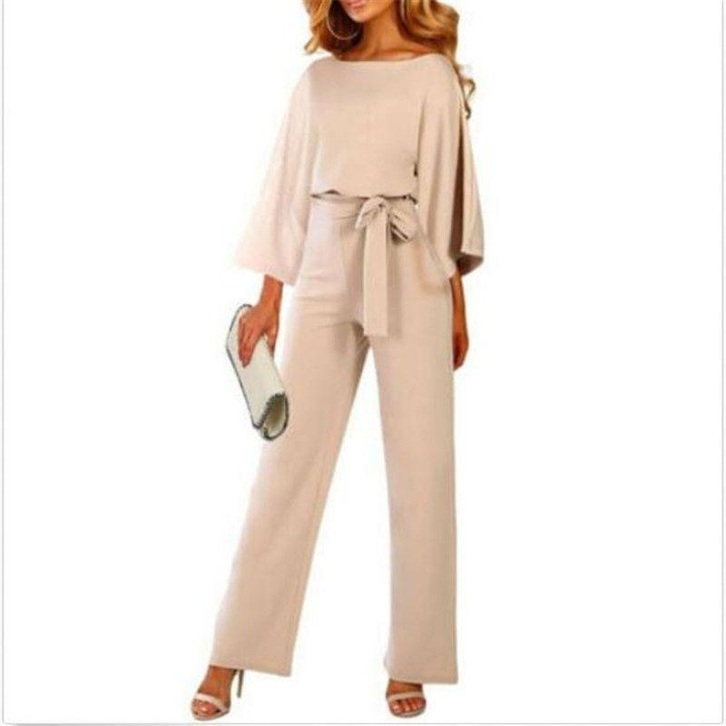 Kadın Sonbahar Gevşek tulum Yeni Saf Renk Uzun Kollu Dantel-up Casual Tulum Moda Bayanlar Geniş Bacaklar Pantolon bodysuit Sıcak