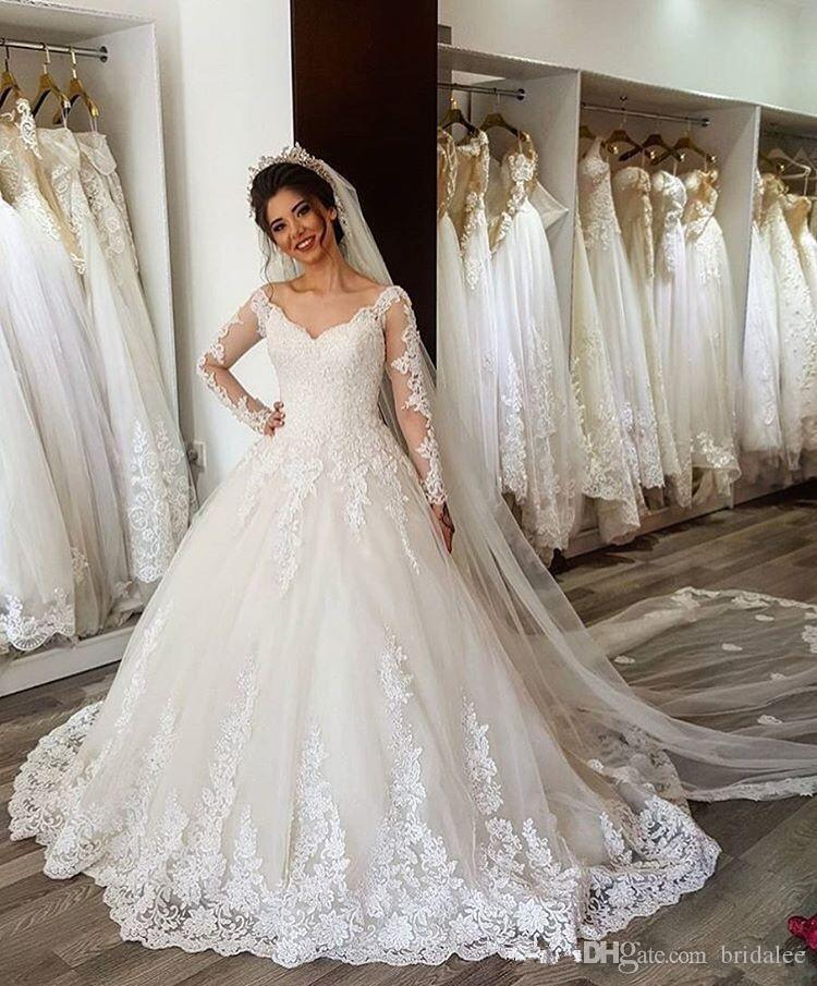 Compre Robe De Mariee Dubai Vestido De Novia Blanco Apliques De Lujo Vestido De Novia De Encaje Vestidos De Novia De Manga Larga Vintage Vestidos De