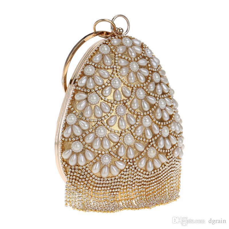 Prominente Frauen Oval Kristall Clutch Handtasche Quaste Damen Gold Abend Hochzeit Geldbörse Kette Weiße Perle Umhängetasche Wristlet Bag
