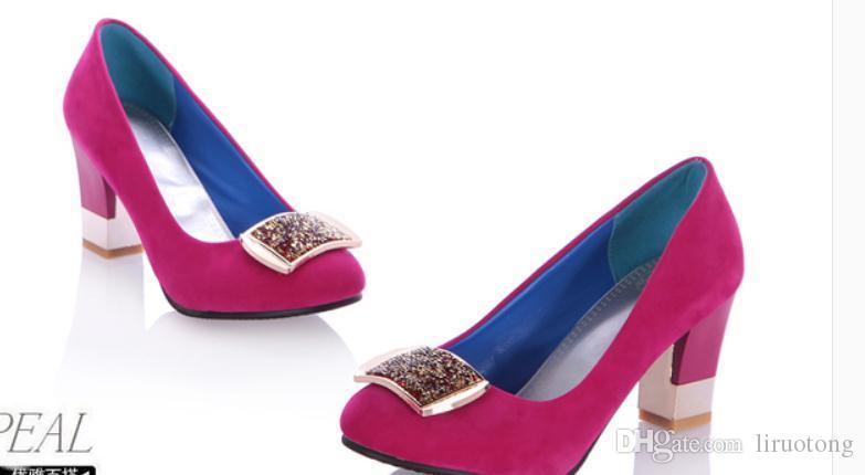 2019 Женская обувь весной и осенью в новом стиле Высокий каблук Грубый каблук с круглой головкой Замша @ 314