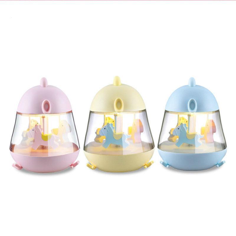 USB Château tournant dans le Sky Music Box tactile Batterie 7 couleur changeable Chick Cartoon Night Light LED Veilleuse Lampes de table